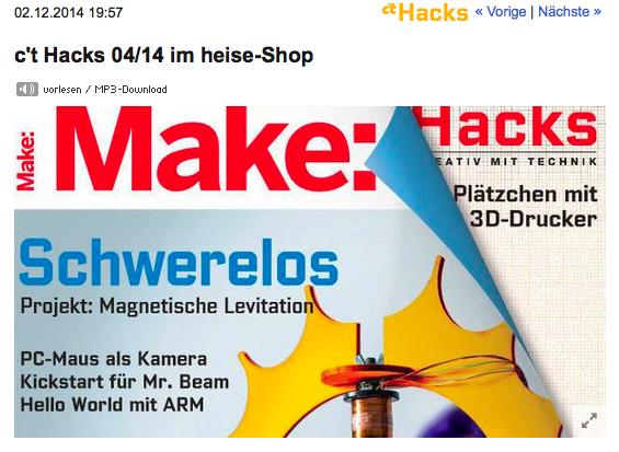 Neu: Make: statt c't Hacks